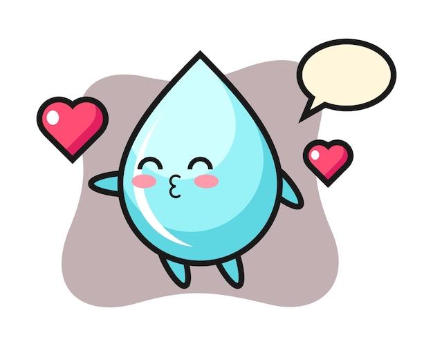 Мультипликационный персонаж капли воды с жестом поцелуи, милый дизайн для футболки