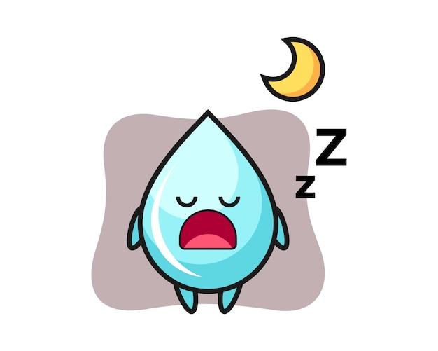 Иллюстрация характера падения воды спать ночью, милый дизайн стиля для футболки
