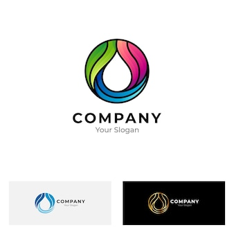 Water drop color logo isolated on white