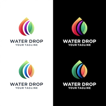 Water drop colorful logo set