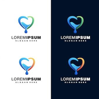 Water drop colorful logo set