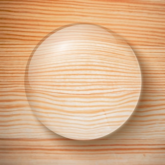 Water drop for decoration and business on wooden realistic illustration