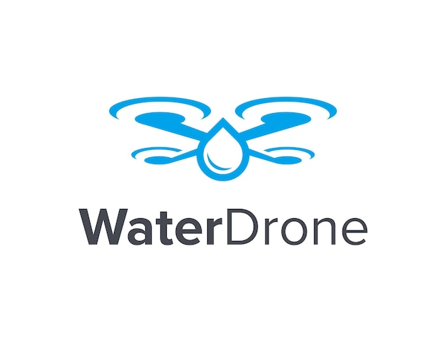 Water drop and drone simple sleek creative geometric modern logo design