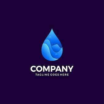 Water drop gradient icon design template