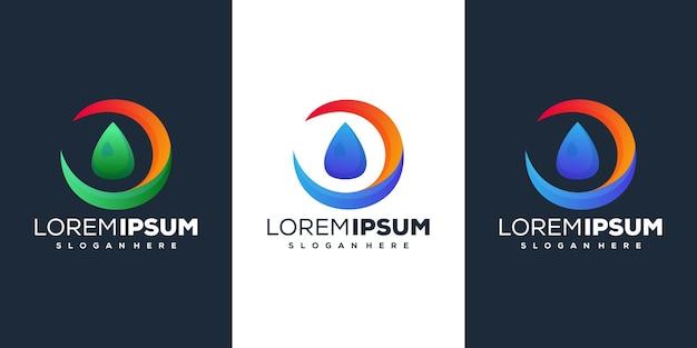 Дизайн логотипа градиента капли воды