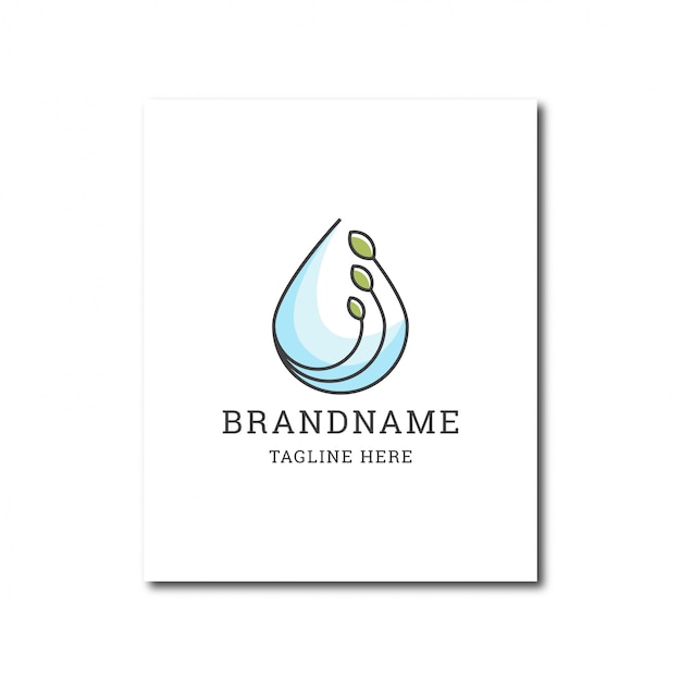 Water drop and green leaf natural water logo icon design template