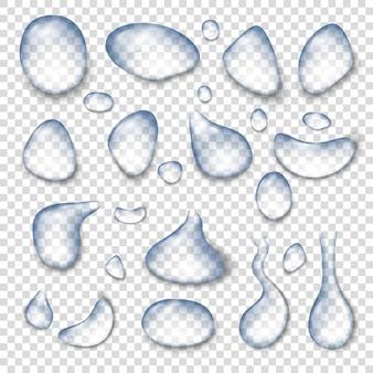 水滴アイコンを設定します。透明な背景で隔離のウェブの水滴アイコンの現実的なセット