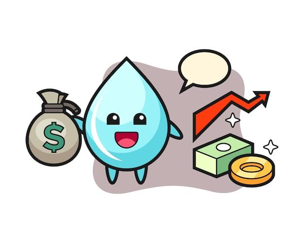 Шарж иллюстрации падения воды держа мешок денег, милый дизайн стиля для футболки