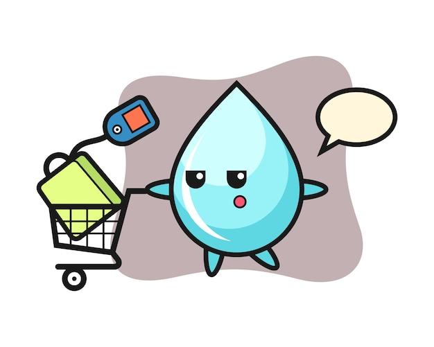Мультфильм капли воды иллюстрации с корзиной для покупок, милый дизайн для футболки