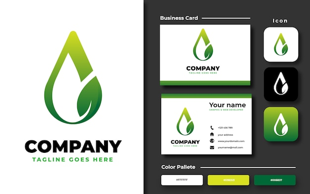 Water drop and leaf logo template with business card