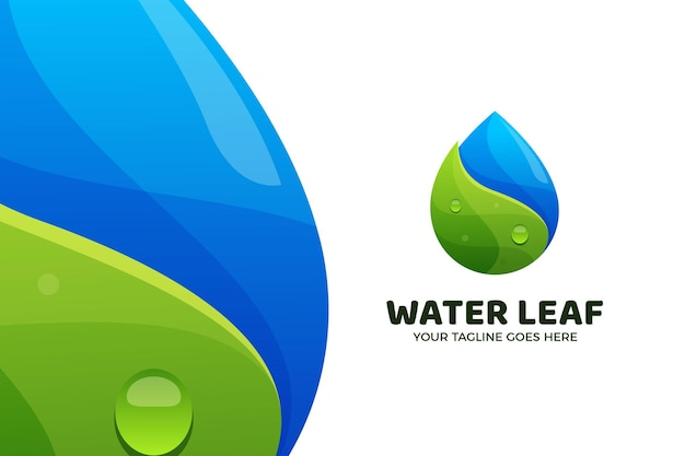 Water drop and leaf nature logo template