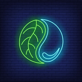 Water drop and leaf yin yang neon sign.