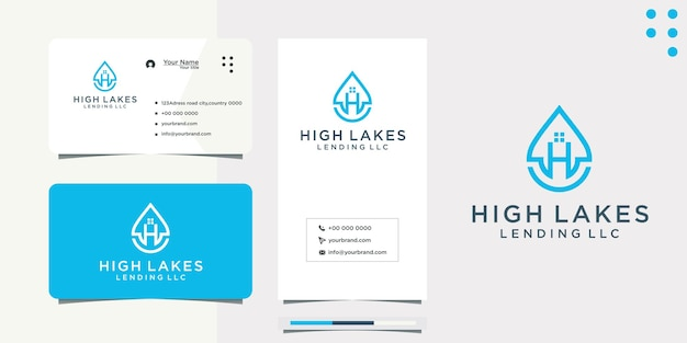Water drop letter h idea logo design and business card