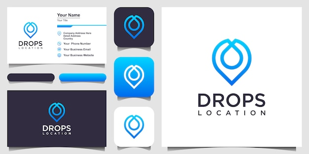 Water drop location pin line icon. linear style sign .  logo design and business card