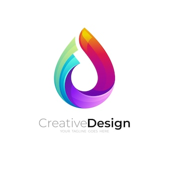 물방울 로고와 3d 화려한 디자인, 현대적인 스타일