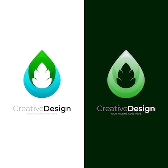 Комбинация логотипа капли воды и дизайна листьев, шаблон логотипа nature