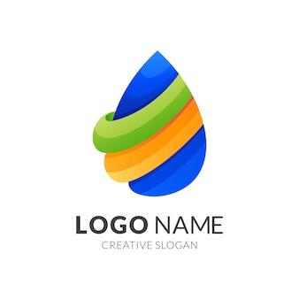 Дизайн логотипа капли воды, современный стиль логотипа в ярких градиентных тонах