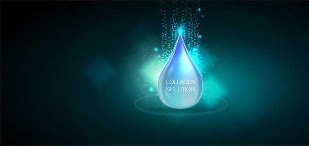 水滴のロゴデザインテンプレート青い光沢のある水滴。
