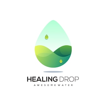 Капля воды логотип зеленого цвета градиент