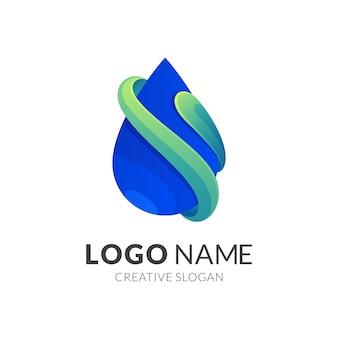 Логотип капли воды, современный стиль логотипа в градиентном зеленом и синем цвете