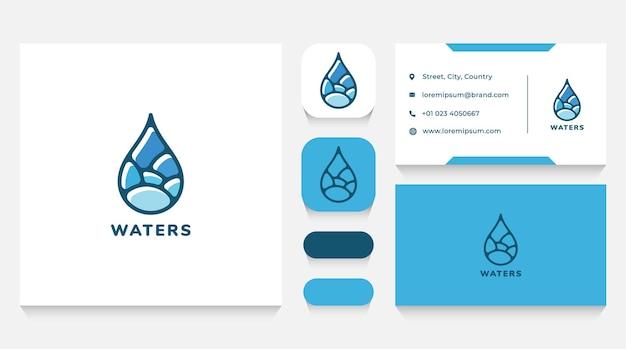 Шаблон логотипа капли воды и визитная карточка