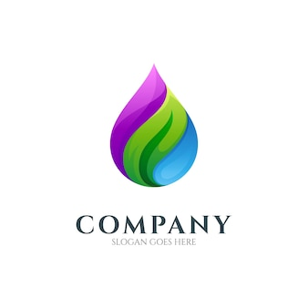 Water drop logo with leaf