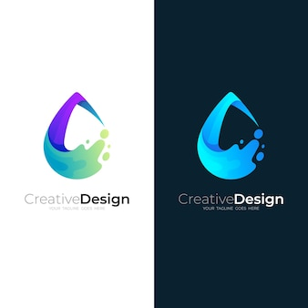 Water drop logo with swoosh design illustration, nature icons