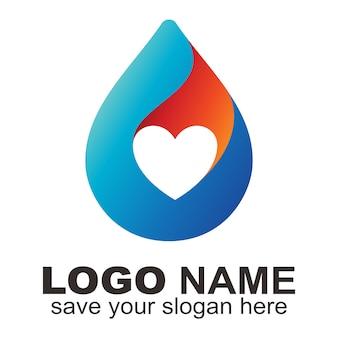 Water drop love logo
