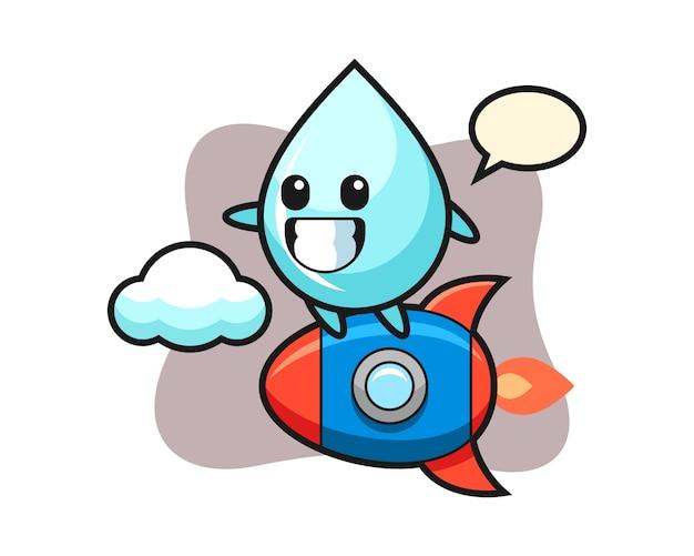 로켓을 타는 물방울 마스코트 캐릭터, 티셔츠의 귀여운 스타일 디자인