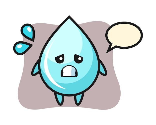 Характер талисмана капли воды с испуганным жестом, симпатичным дизайном стиля для футболки