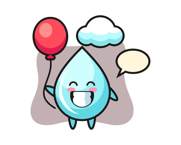 Иллюстрация талисмана падения воды играет воздушный шар, милый дизайн стиля для футболки