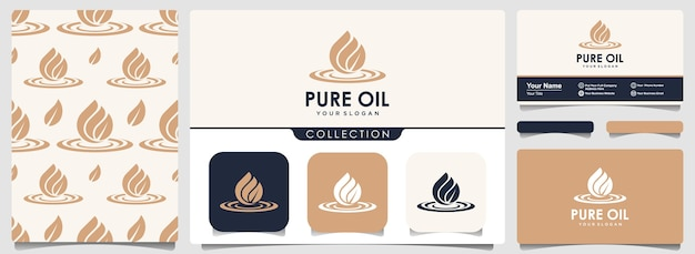 Water drop or olive oil logo with set of pattern and business card template.