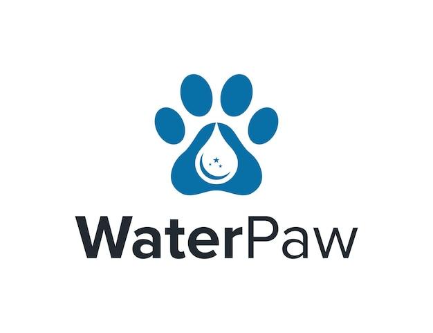 Water drop and paw simple sleek creative geometric modern logo design