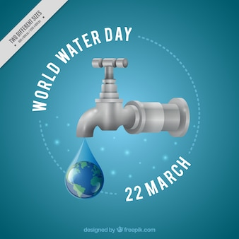 Water drop tap background in realistic style