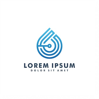 Water drop technology logo design illustration