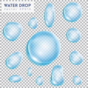 水滴、透明な背景。