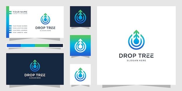 Логотип дерева капли воды и визитная карточка
