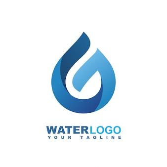 Капля воды векторный логотип с зеленым листом и рукой