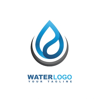 Water drop vector logo with green leaf and hand