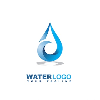 Water drop vector logo with leaf and hand