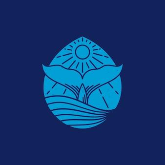 워터 드롭 고래 빈티지 디자인