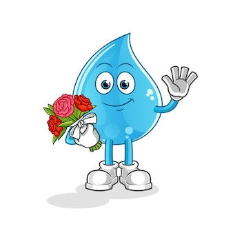 Water drop with bouquet mascot