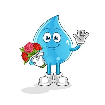 花束のマスコットと水滴