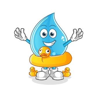 Water drop with duck buoy cartoon