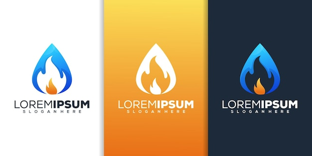 Water drop with fire logo design