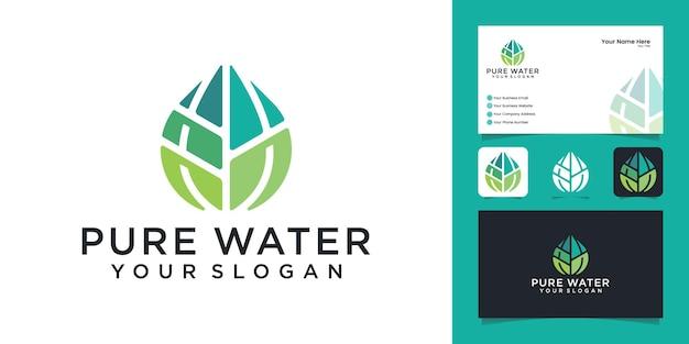 Капля воды с шаблоном дизайна листа и визитной карточкой