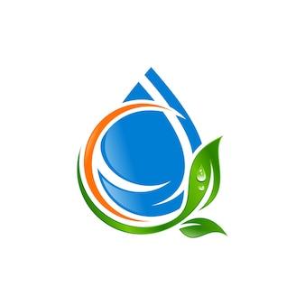 Капля воды с векторным логотипом листа