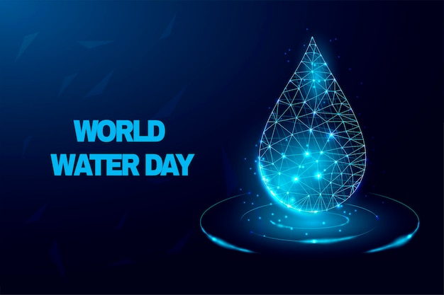水滴。世界水の日。低ポリスタイルのデザイン。
