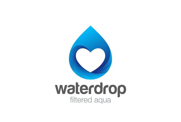 Water droplet heart inside logo design. love mineral natural aqua drop drink logotype.