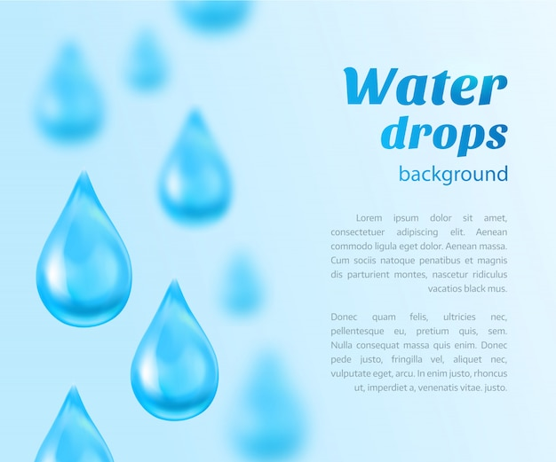 Water drops background with place for text. illustration